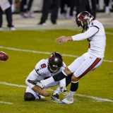 Tampa Bay Buccaneers' Ryan Succop (3) kicks a field goal from the hold of Bradley Pinion during the first half of the team's NFL football game against the Chicago Bears in Chicago, Thursday, Oct. 8, 2020. (AP Photo/Nam Y. Huh)
