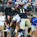 Wake Forest defensive back Dionte Austin (11) breaks up a pass intended for Duke wide receiver Anthony Nash (83) during the NCAA college football game between Duke and Wake Forest on Saturday Nov. 28, 2015 at BB&T Field, in Winston-Salem, NC. Jacob Kupferman/CSM